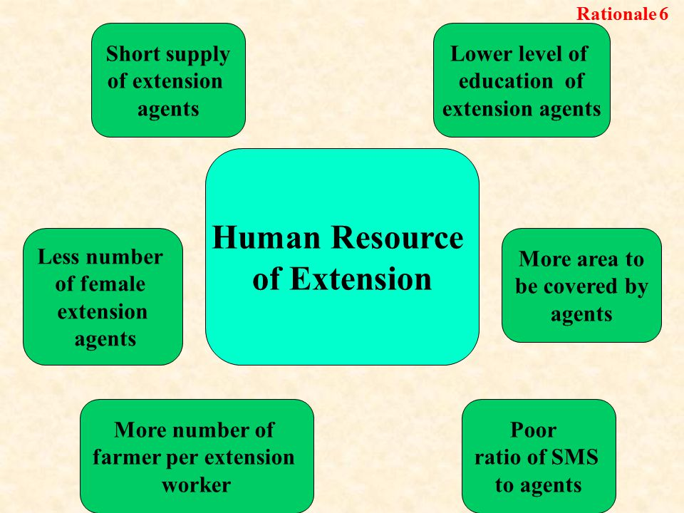 Poor ratio of SMS to agents Lower level of education of extension agents Short supply of extension agents More number of farmer per extension worker More area to be covered by agents Less number of female extension agents Human Resource of Extension Rationale 6