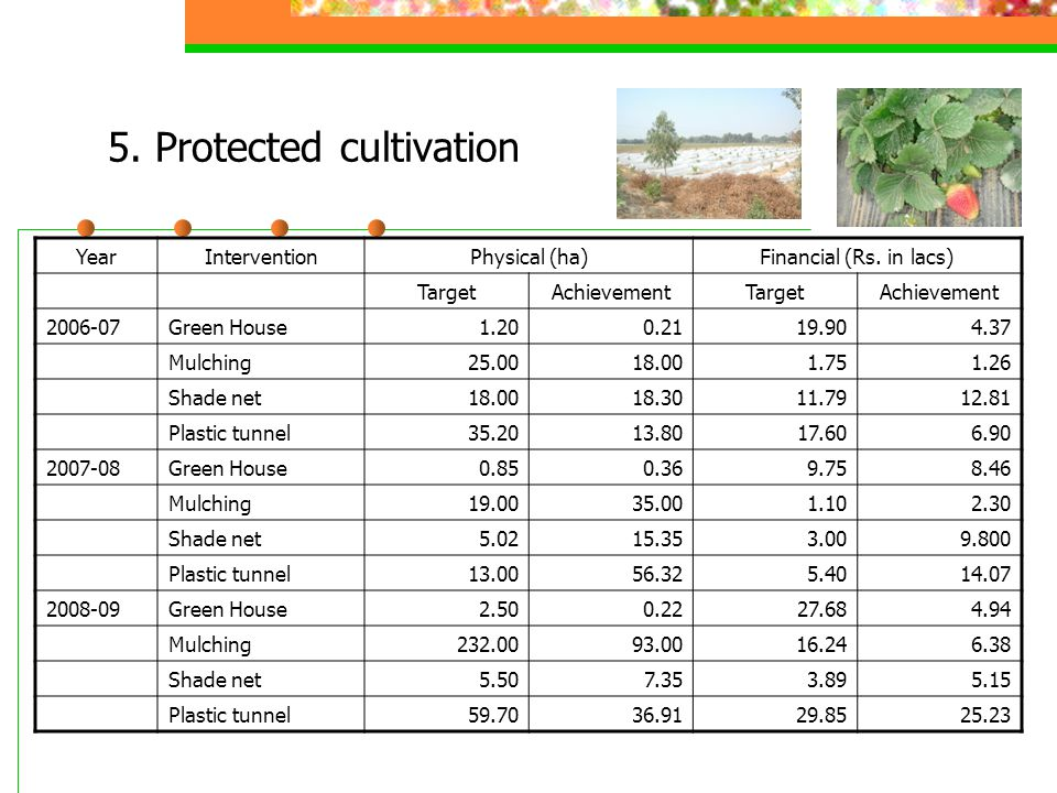 5. Protected cultivation YearInterventionPhysical (ha)Financial (Rs. in lacs) TargetAchievementTargetAchievement 2006-07Green House1.200.2119.904.37 M