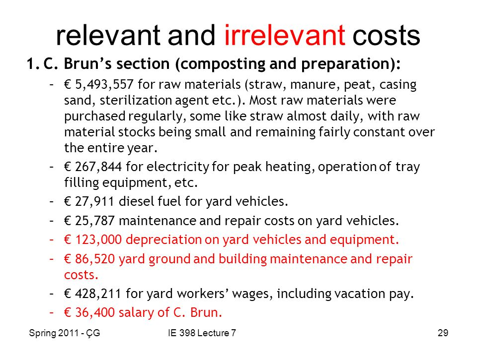 Spring 2011 - ÇGIE 398 Lecture 729 relevant and irrelevant costs 1.C.