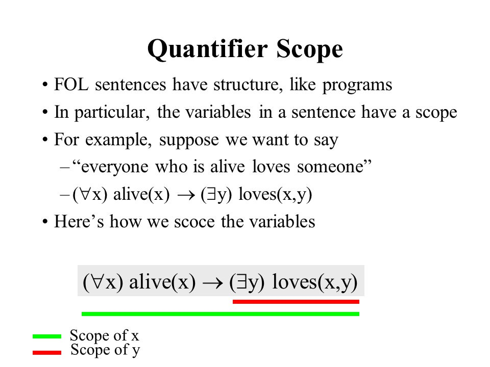 Quantifier Scope FOL sentences have structure, like programs In particular, the variables in a sentence have a scope For example, suppose we want to s