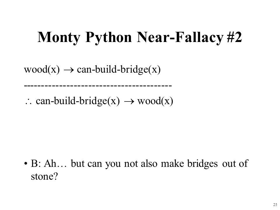 25 Monty Python Near-Fallacy #2 wood(x)  can-build-bridge(x) -----------------------------------------  can-build-bridge(x)  wood(x) B: Ah… but can