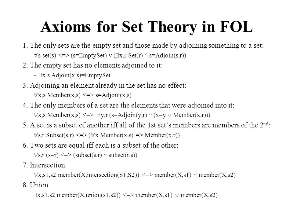 Axioms for Set Theory in FOL 1. The only sets are the empty set and those made by adjoining something to a set:  s set(s) (s=EmptySet) v (  x,r Set(