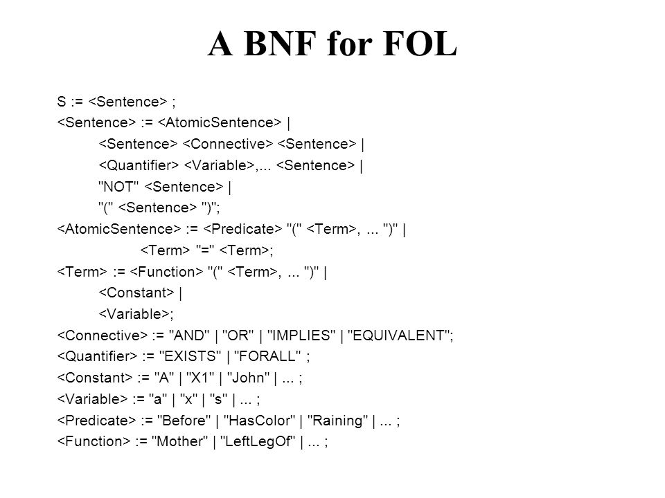 A BNF for FOL S := ; :=    ,...  
