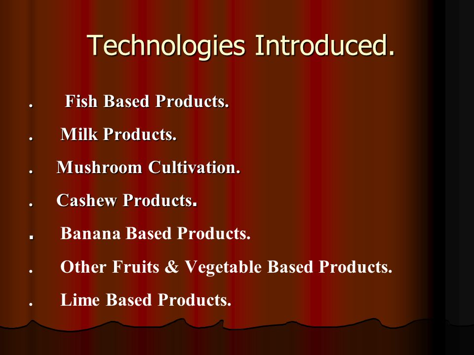 Technologies Introduced. Technologies Introduced..