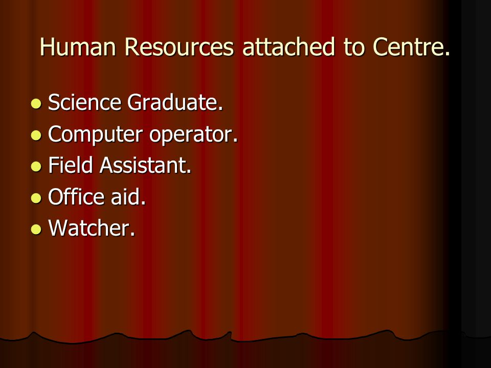 Human Resources attached to Centre.Science Graduate.
