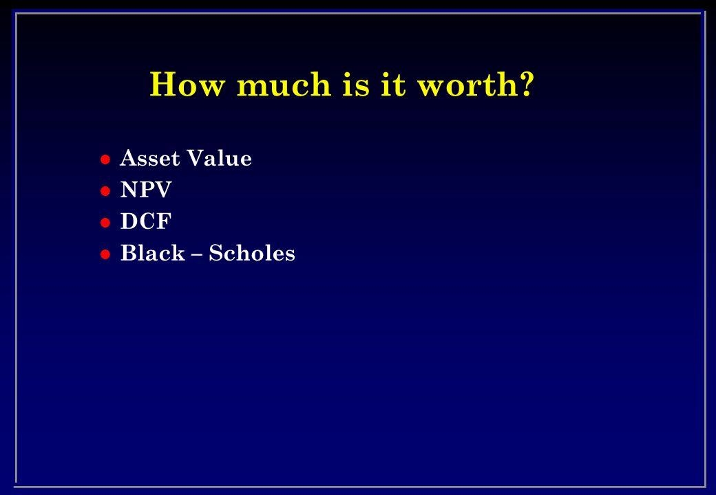 How much is it worth l Asset Value l NPV l DCF l Black – Scholes