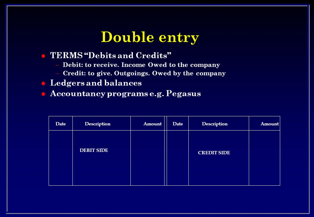 Double entry l TERMS Debits and Credits – Debit: to receive.