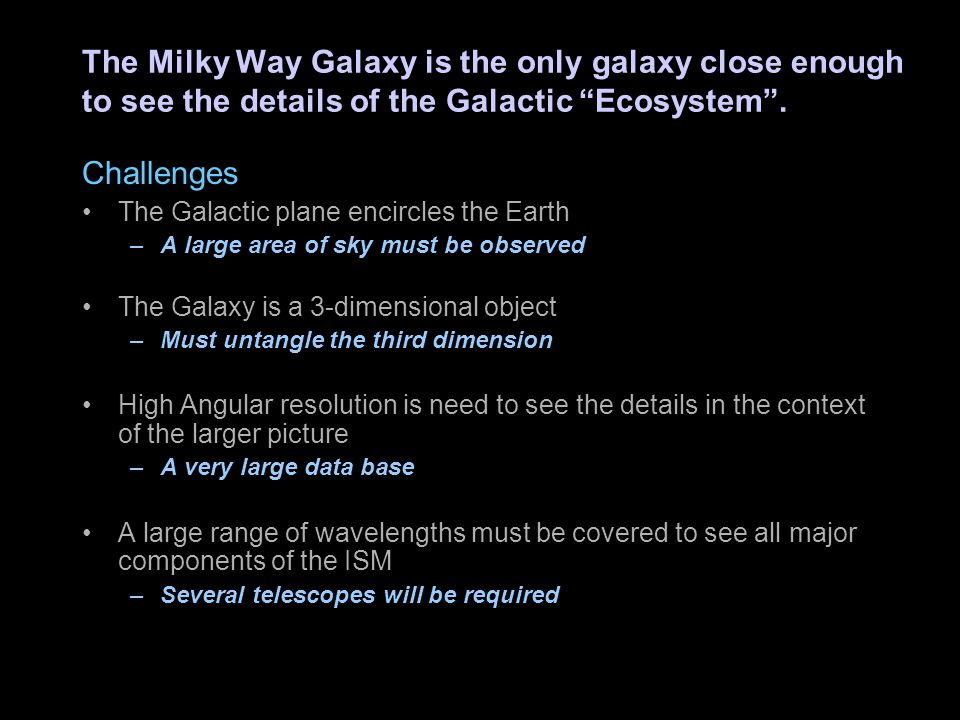 """The Milky Way Galaxy is the only galaxy close enough to see the details of the Galactic """"Ecosystem"""". Challenges The Galactic plane encircles the Earth"""