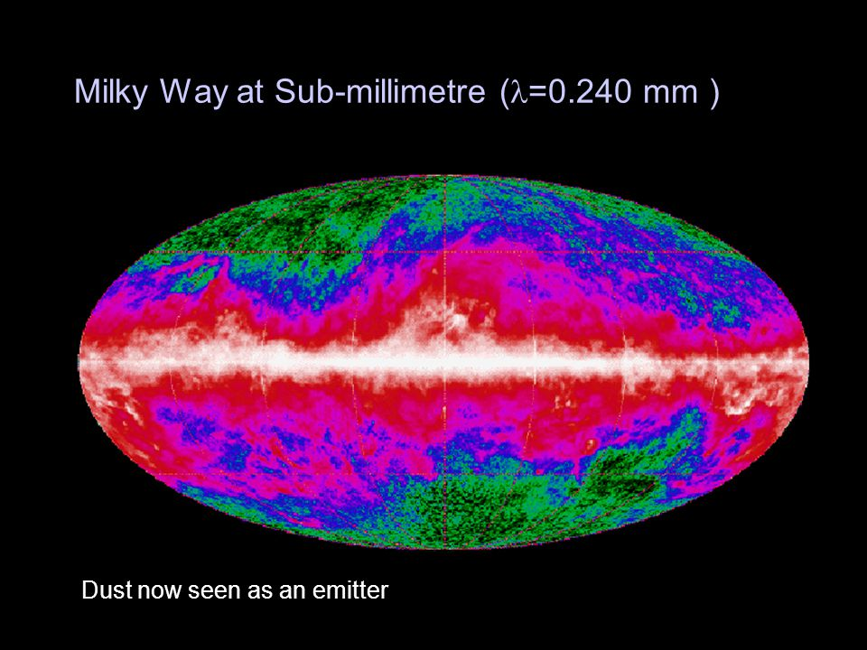 Milky Way at Sub-millimetre ( =0.240 mm ) Dust now seen as an emitter