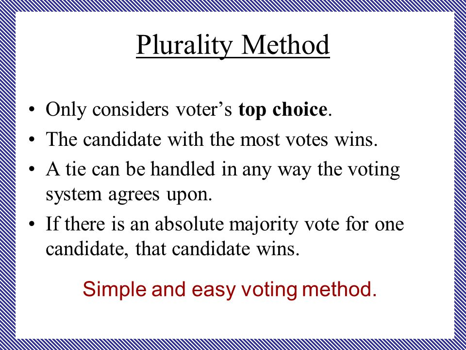 Plurality Method Only considers voter's top choice.