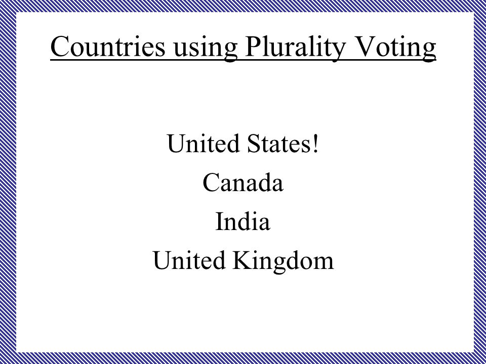 Countries using Plurality Voting United States! Canada India United Kingdom