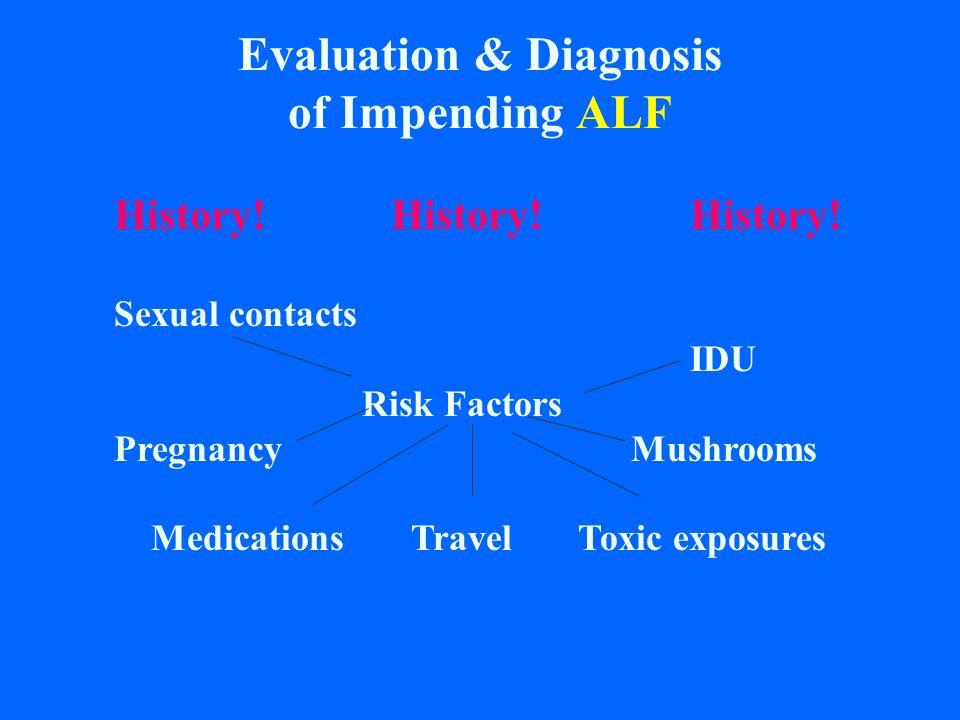 Evaluation & Diagnosis of Impending ALF History! History!History! Sexual contacts IDU Risk Factors Pregnancy Mushrooms Medications Travel Toxic exposu
