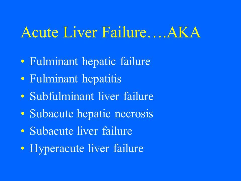 Acute Liver Failure….AKA Fulminant hepatic failure Fulminant hepatitis Subfulminant liver failure Subacute hepatic necrosis Subacute liver failure Hyp