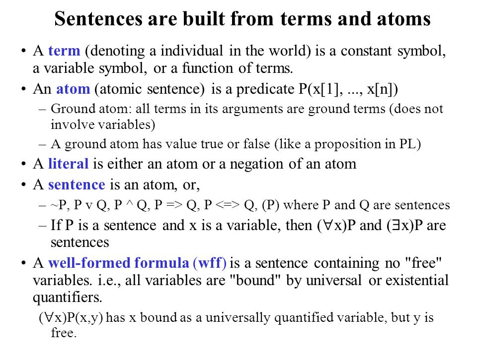 Sentences are built from terms and atoms A term (denoting a individual in the world) is a constant symbol, a variable symbol, or a function of terms.