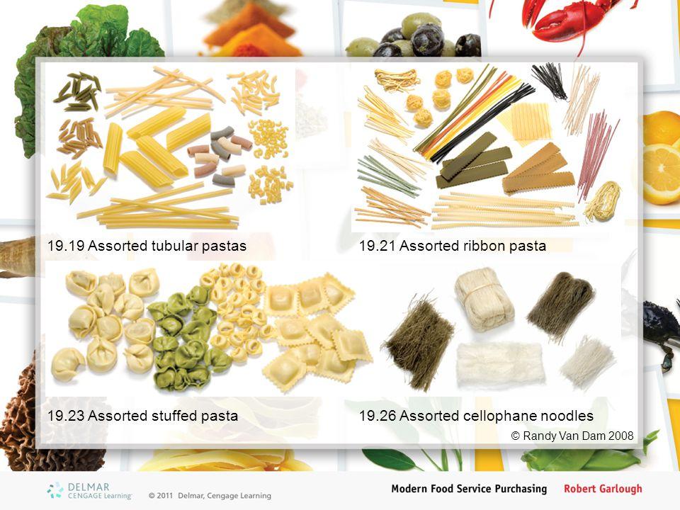 © Randy Van Dam 2008 19.19 Assorted tubular pastas19.21 Assorted ribbon pasta 19.23 Assorted stuffed pasta19.26 Assorted cellophane noodles