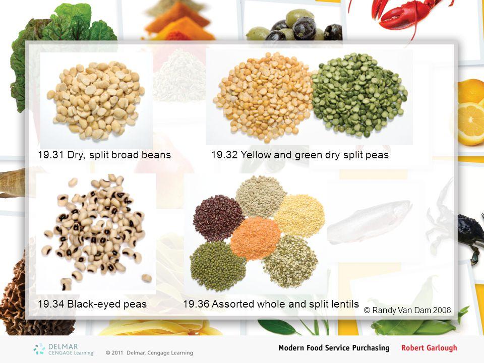 © Randy Van Dam 2008 19.31 Dry, split broad beans19.32 Yellow and green dry split peas 19.34 Black-eyed peas19.36 Assorted whole and split lentils