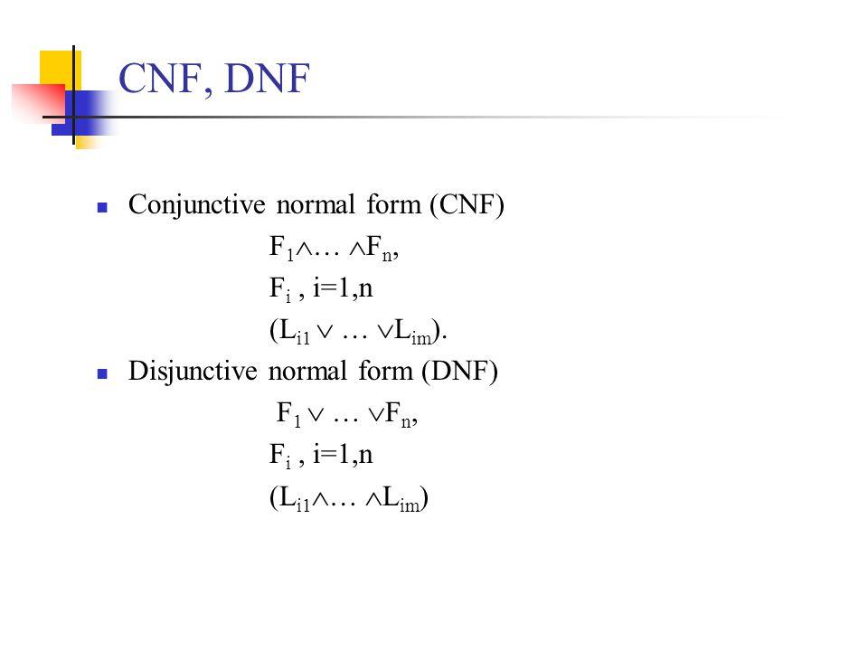 CNF, DNF Conjunctive normal form (CNF) F 1  …  F n, F i, i=1,n (L i1  …  L im ).