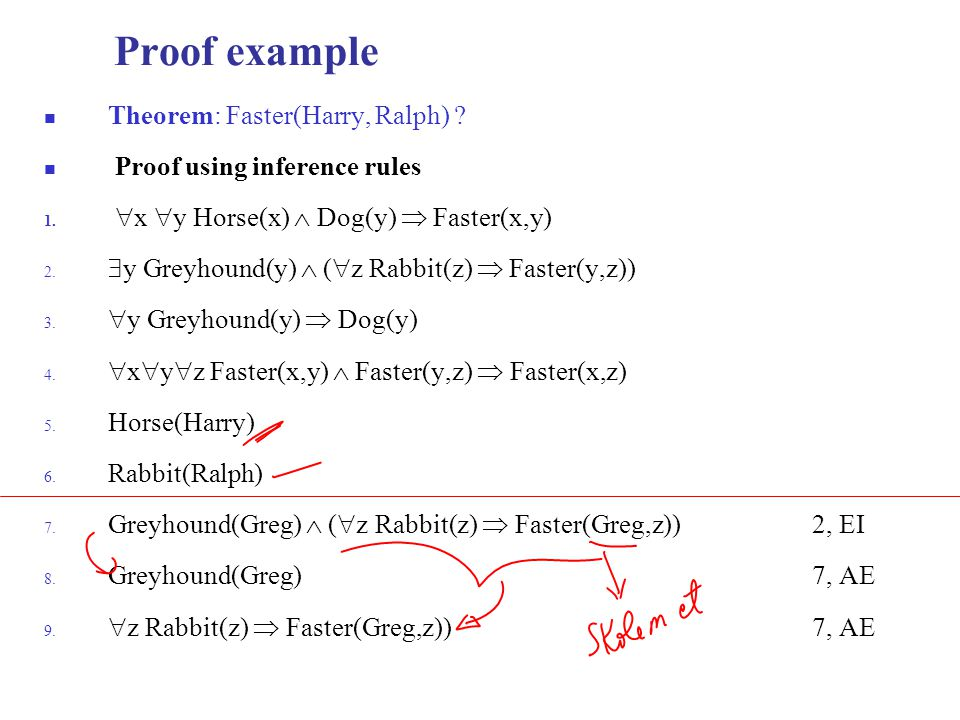 Proof example Theorem: Faster(Harry, Ralph) .Proof using inference rules 1.