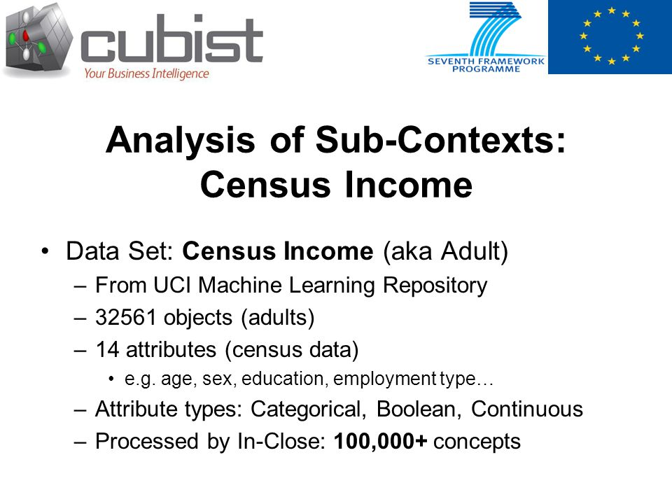Analysis of Sub-Contexts: Census Income Data Set: Census Income (aka Adult) –From UCI Machine Learning Repository –32561 objects (adults) –14 attribut