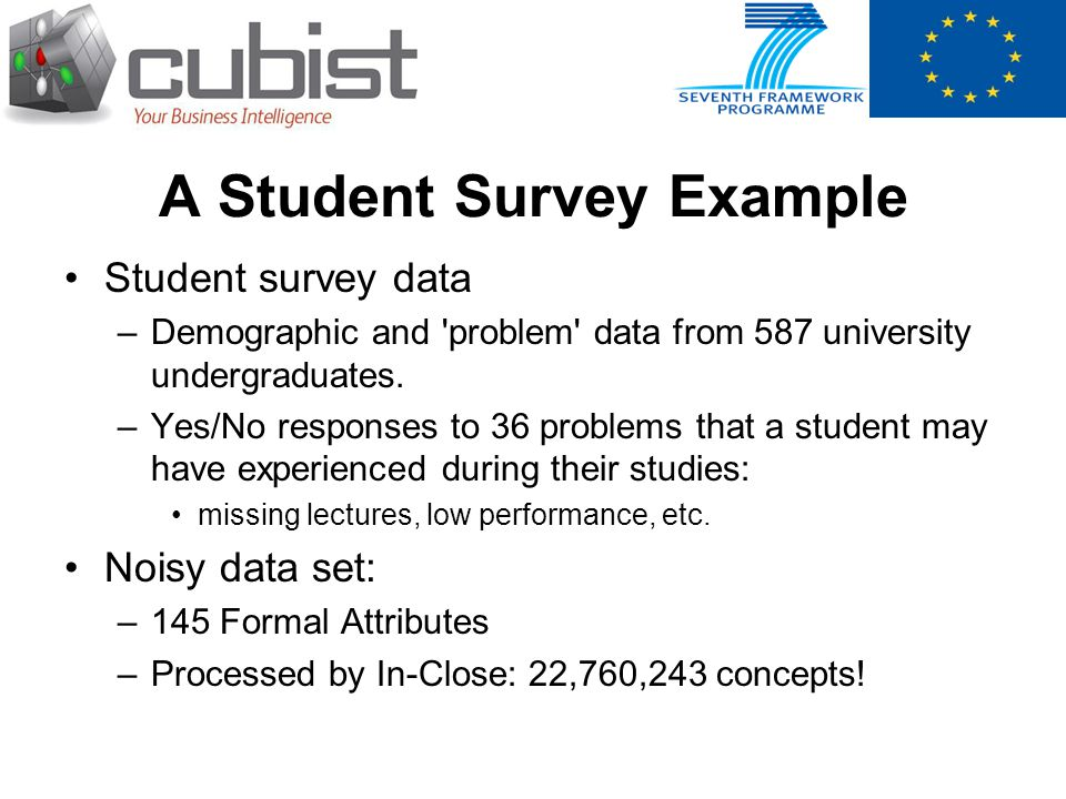A Student Survey Example Student survey data –Demographic and 'problem' data from 587 university undergraduates. –Yes/No responses to 36 problems that