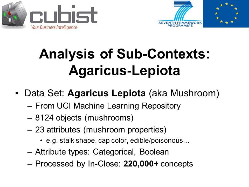 Analysis of Sub-Contexts: Agaricus-Lepiota Data Set: Agaricus Lepiota (aka Mushroom) –From UCI Machine Learning Repository –8124 objects (mushrooms) –23 attributes (mushroom properties) e.g.