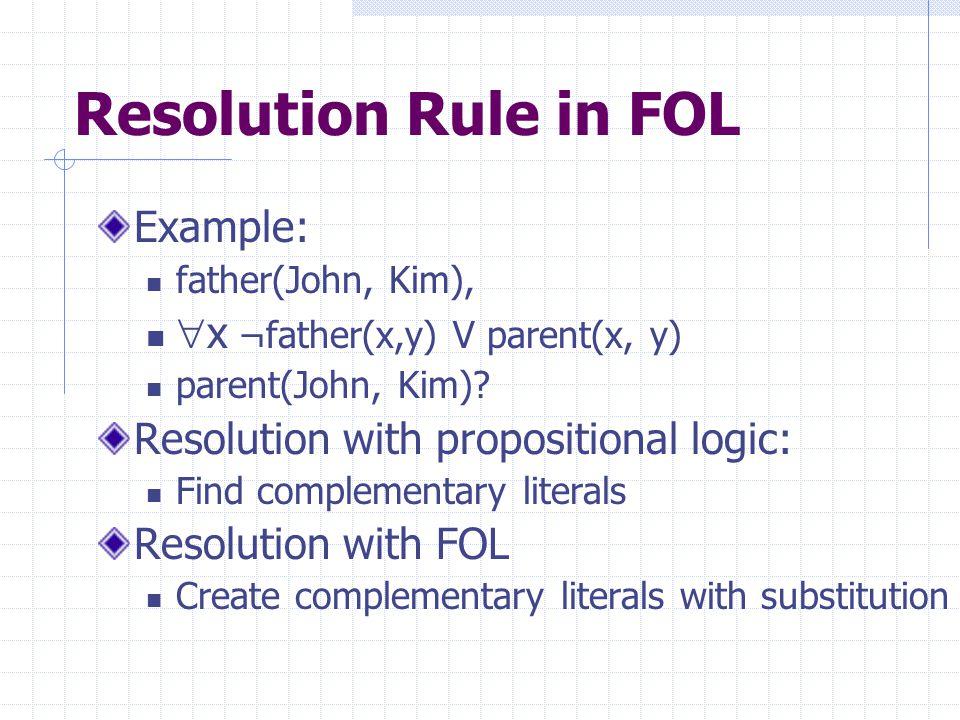 Resolution Rule in FOL Example: father(John, Kim),  x ¬father(x,y) V parent(x, y) parent(John, Kim).