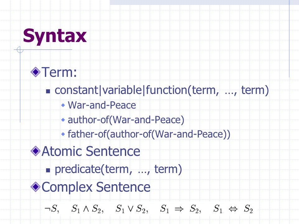Syntax Term: constant|variable|function(term, …, term)  War-and-Peace  author-of(War-and-Peace)  father-of(author-of(War-and-Peace)) Atomic Sentence predicate(term, …, term) Complex Sentence