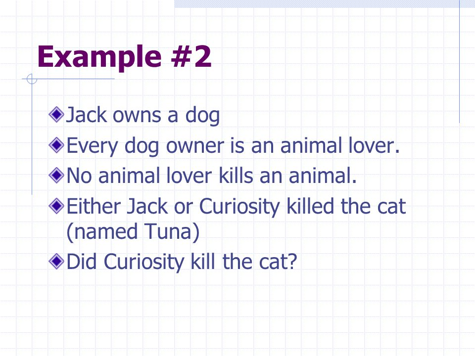 Example #2 Jack owns a dog Every dog owner is an animal lover.