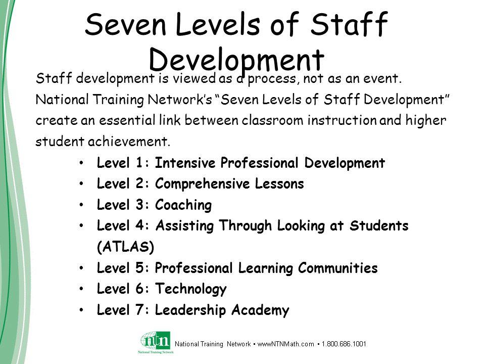 """Seven Levels of Staff Development Staff development is viewed as a process, not as an event. National Training Network's """"Seven Levels of Staff Develo"""