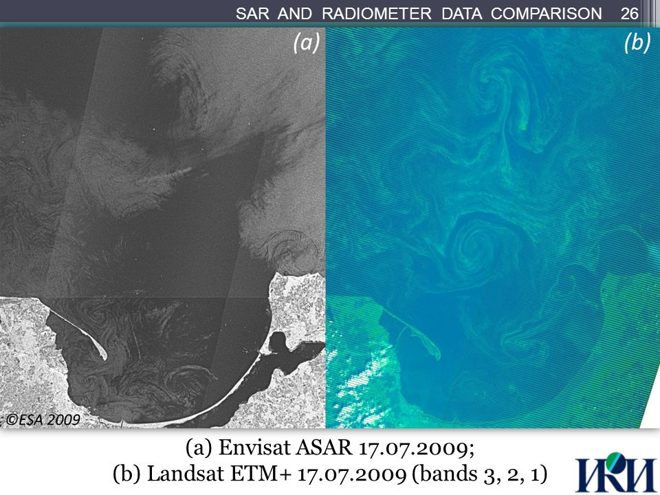 (a) Envisat ASAR 17.07.2009; (b) Landsat ETM+ 17.07.2009 (bands 3, 2, 1) 26 SAR AND RADIOMETER DATA COMPARISON