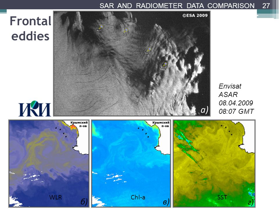Frontal eddies Envisat ASAR 08.04.2009 08:07 GMT WLRChl-aSST 27 SAR AND RADIOMETER DATA COMPARISON