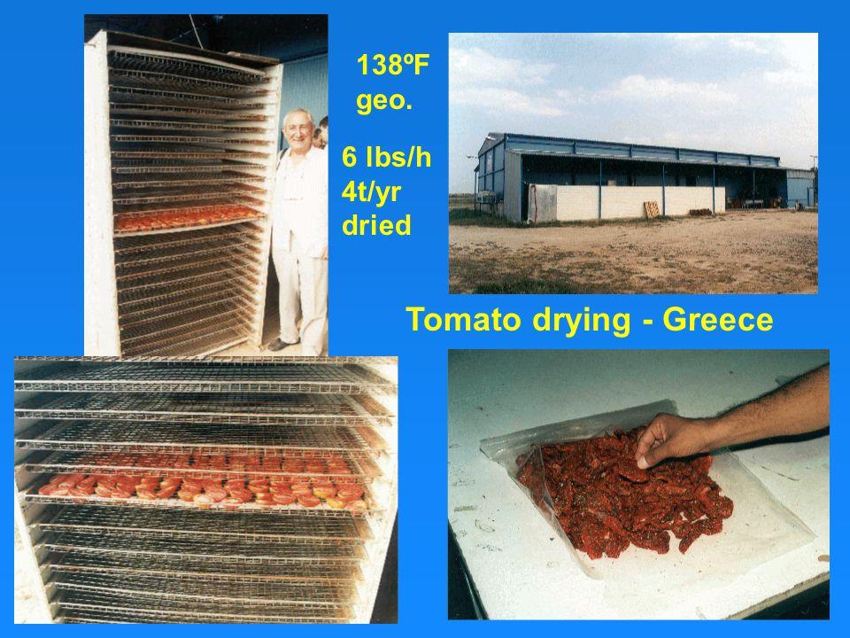 Tomato drying - Greece 138ºF geo. 6 lbs/h 4t/yr dried