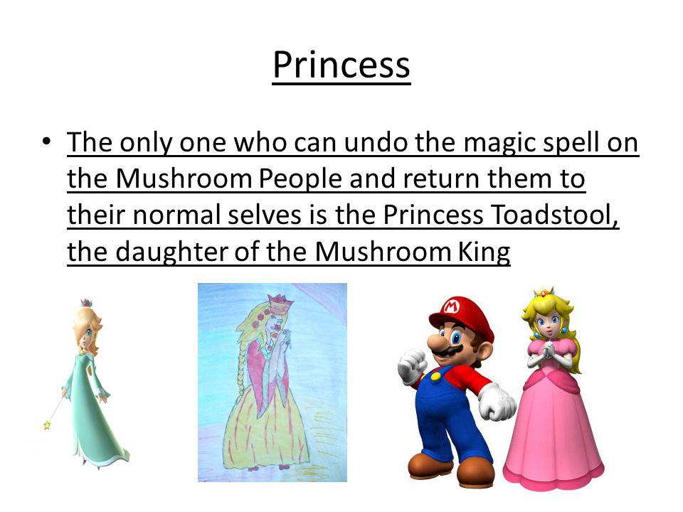 Princess The only one who can undo the magic spell on the Mushroom People and return them to their normal selves is the Princess Toadstool, the daughter of the Mushroom King