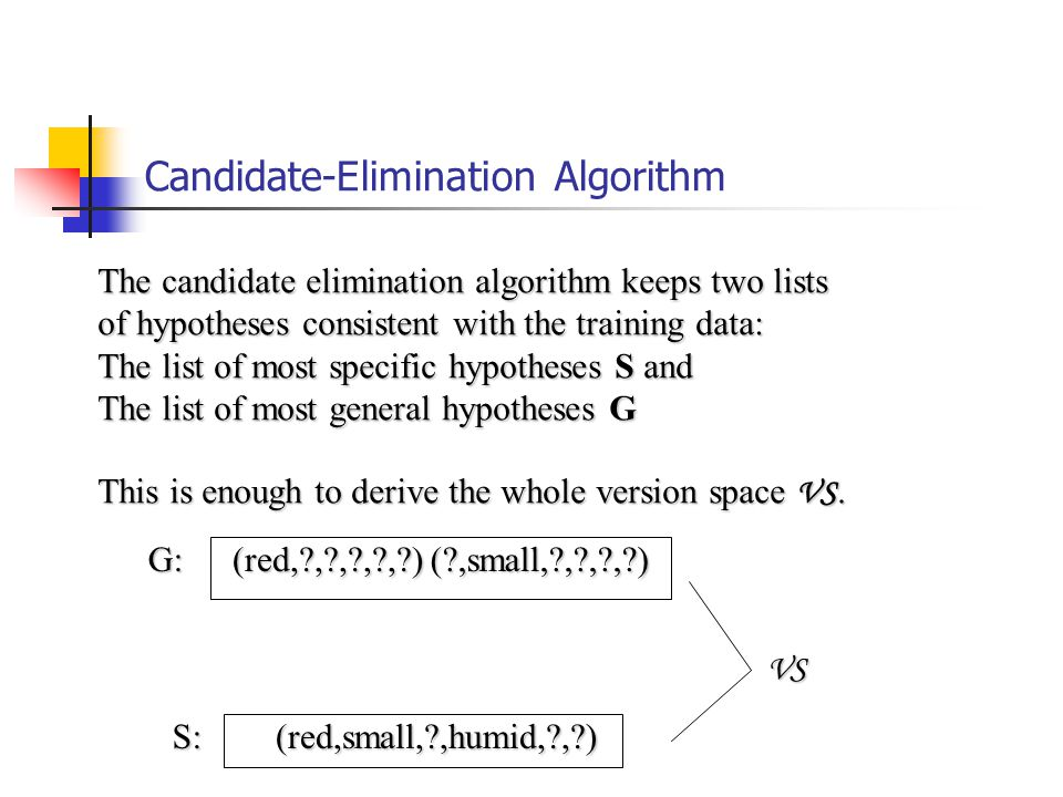 Candidate-Elimination Algorithm (red,small, ,humid, , ) (red,small, ,humid, , ) (red, , , , , )( ,small, , , , )G: S: The candidate elimination algorithm keeps two lists of hypotheses consistent with the training data: The list of most specific hypotheses S and The list of most general hypotheses G This is enough to derive the whole version space VS.
