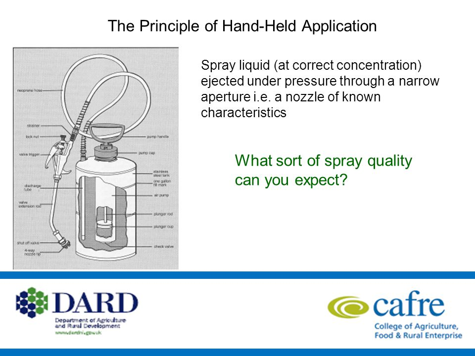 The Principle of Hand-Held Application Spray liquid (at correct concentration) ejected under pressure through a narrow aperture i.e.