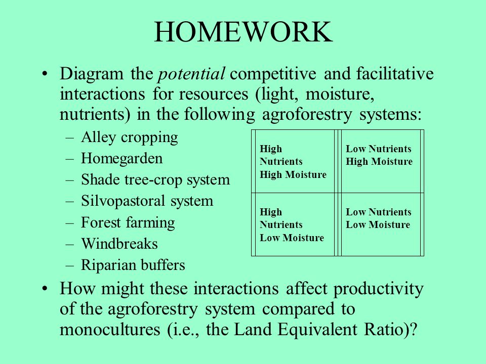 HOMEWORK Diagram the potential competitive and facilitative interactions for resources (light, moisture, nutrients) in the following agroforestry syst