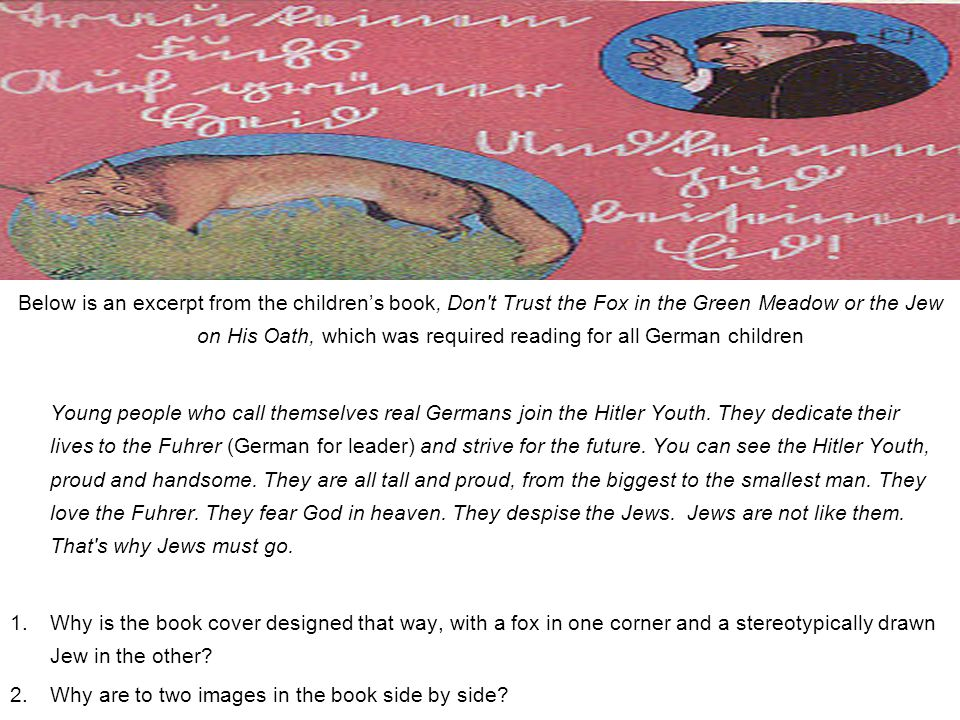 From a Nazi-approved Math Textbook: The Jews are aliens in Germany--in 1933 there were 66,060,000 inhabitants in the German Reich (Empire), of whom 499,682 were Jews.