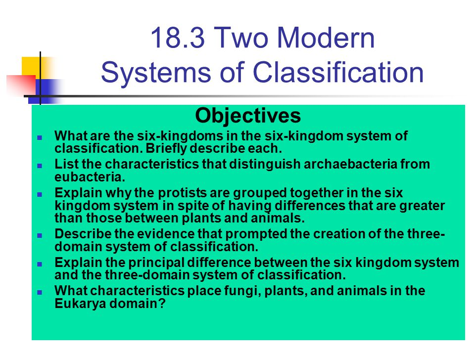 18.3 Two Modern Systems of Classification Objectives What are the six-kingdoms in the six-kingdom system of classification. Briefly describe each. Lis