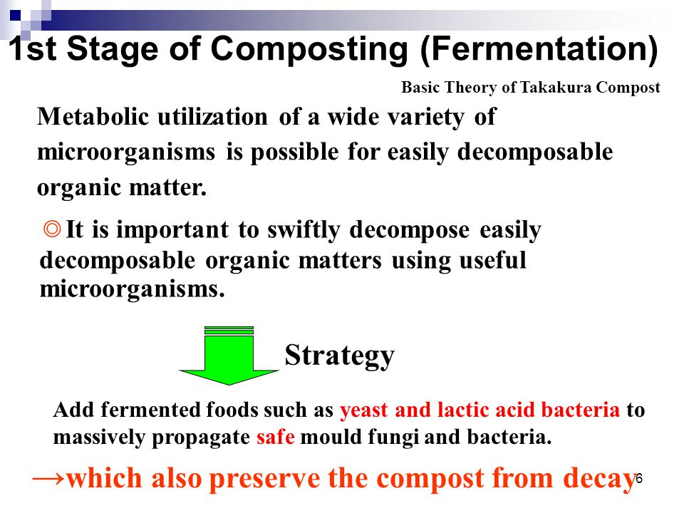 6 1st Stage of Composting (Fermentation) Metabolic utilization of a wide variety of microorganisms is possible for easily decomposable organic matter.