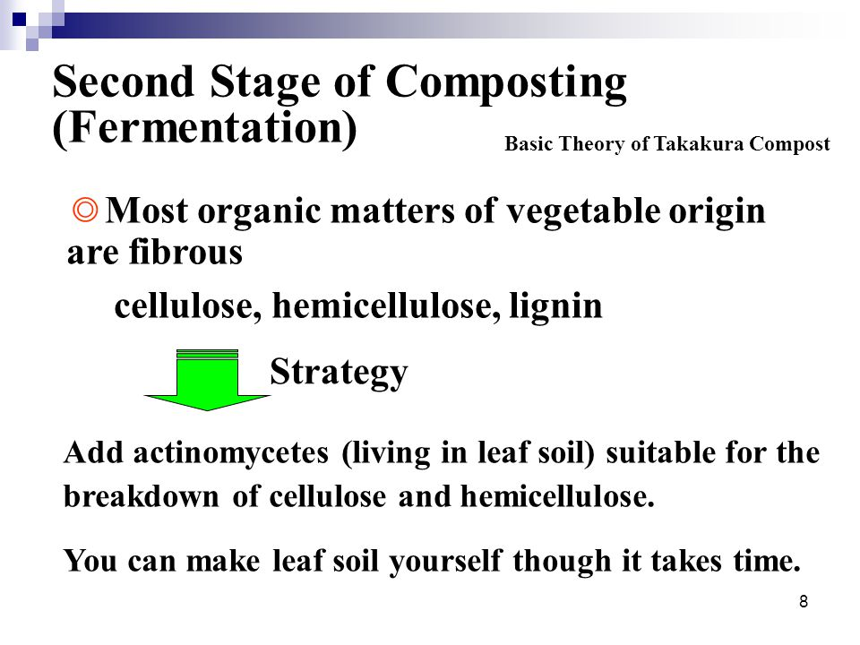 8 Second Stage of Composting (Fermentation) Add actinomycetes (living in leaf soil) suitable for the breakdown of cellulose and hemicellulose.