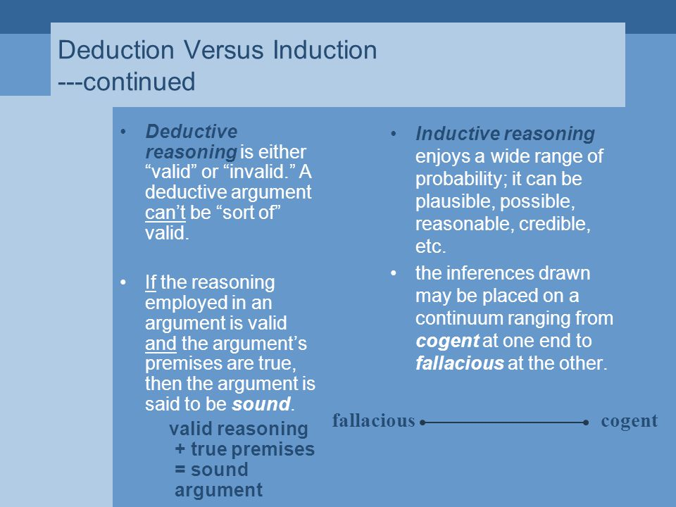 Deduction Versus Induction ---continued Deductive reasoning is either valid or invalid. A deductive argument can't be sort of valid.