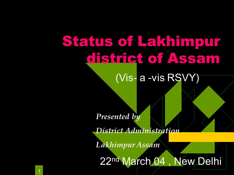1 Status of Lakhimpur district of Assam Presented by District Administration Lakhimpur Assam (Vis- a -vis RSVY) 22 nd March 04, New Delhi