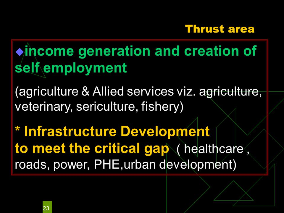 23 Thrust area  income generation and creation of self employment (agriculture & Allied services viz.
