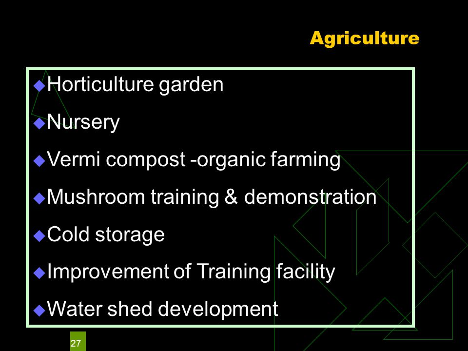 27 Agriculture  Horticulture garden  Nursery  Vermi compost -organic farming  Mushroom training & demonstration  Cold storage  Improvement of Training facility  Water shed development