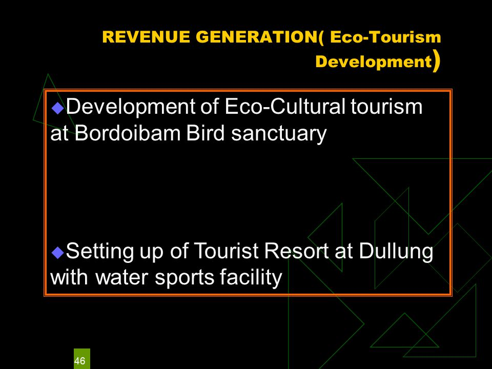 46 REVENUE GENERATION( Eco-Tourism Development )  Development of Eco-Cultural tourism at Bordoibam Bird sanctuary  Setting up of Tourist Resort at Dullung with water sports facility