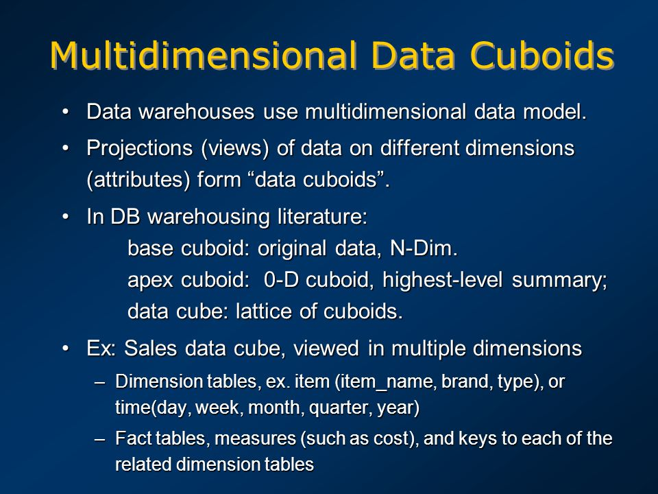 Multidimensional Data Cuboids Data warehouses use multidimensional data model.Data warehouses use multidimensional data model. Projections (views) of