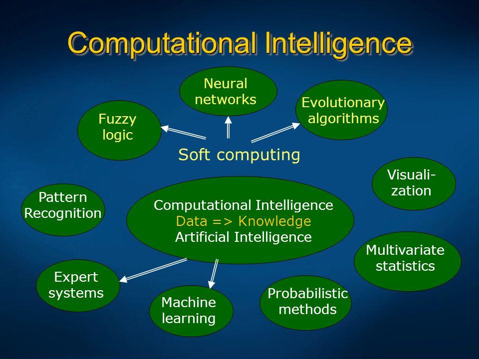Computational Intelligence Computational Intelligence Data => Knowledge Artificial Intelligence Expert systems Fuzzy logic Pattern Recognition Machine