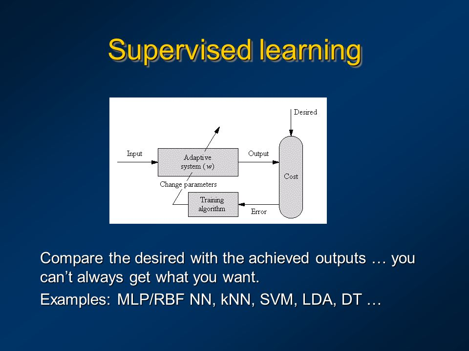 Supervised learning Compare the desired with the achieved outputs … you can't always get what you want. Examples: MLP/RBF NN, kNN, SVM, LDA, DT …