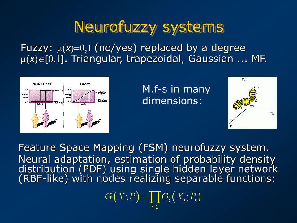 Neurofuzzy systems Feature Space Mapping (FSM) neurofuzzy system.
