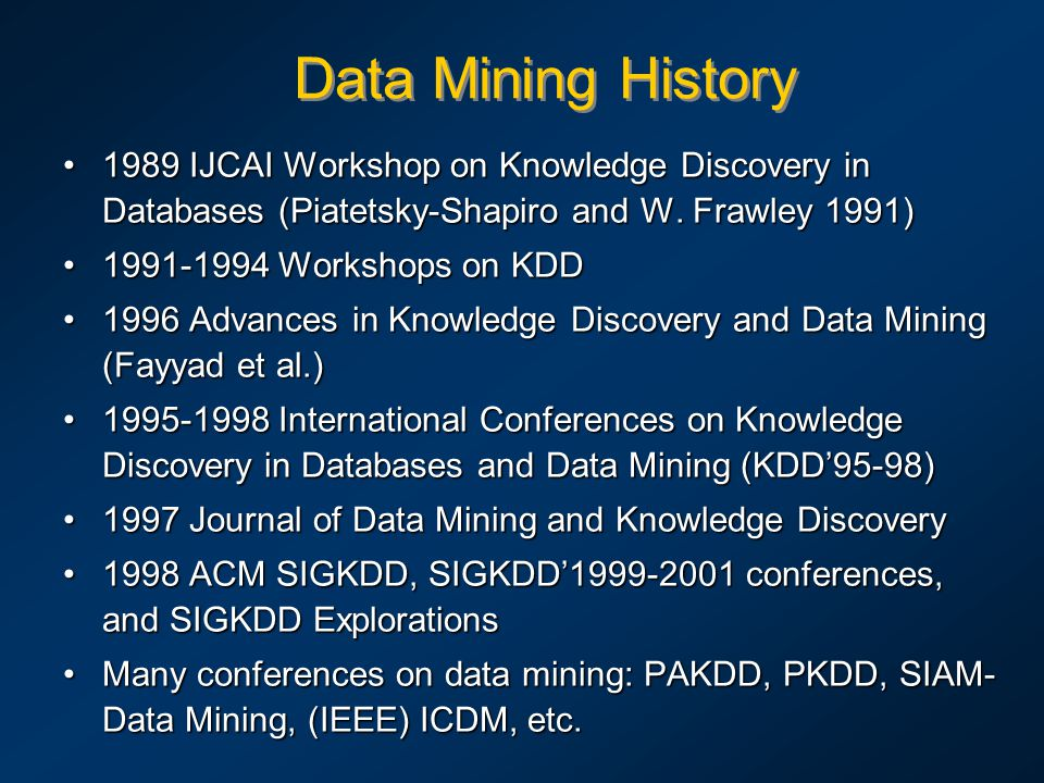 Data Mining History 1989 IJCAI Workshop on Knowledge Discovery in Databases (Piatetsky-Shapiro and W. Frawley 1991)1989 IJCAI Workshop on Knowledge Di